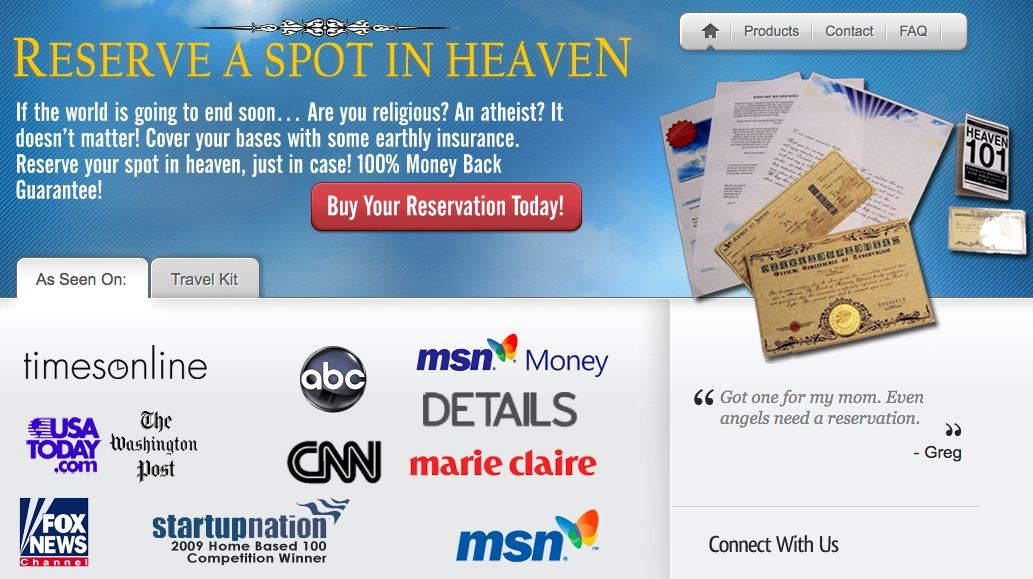 "Reserve a Spot in Heaven ""Crazy Business Ideas"""