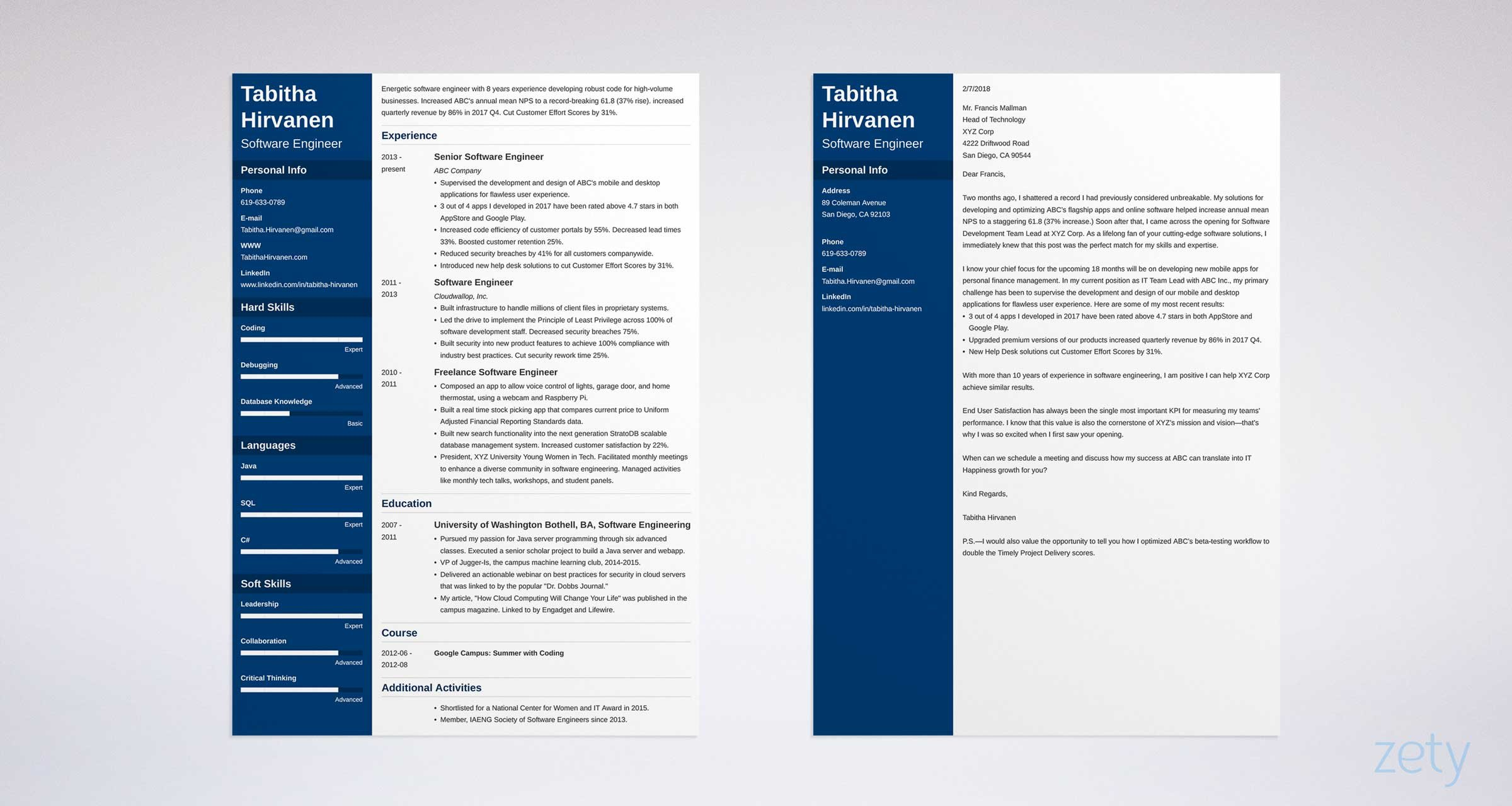 software engineer resume and cover letter set