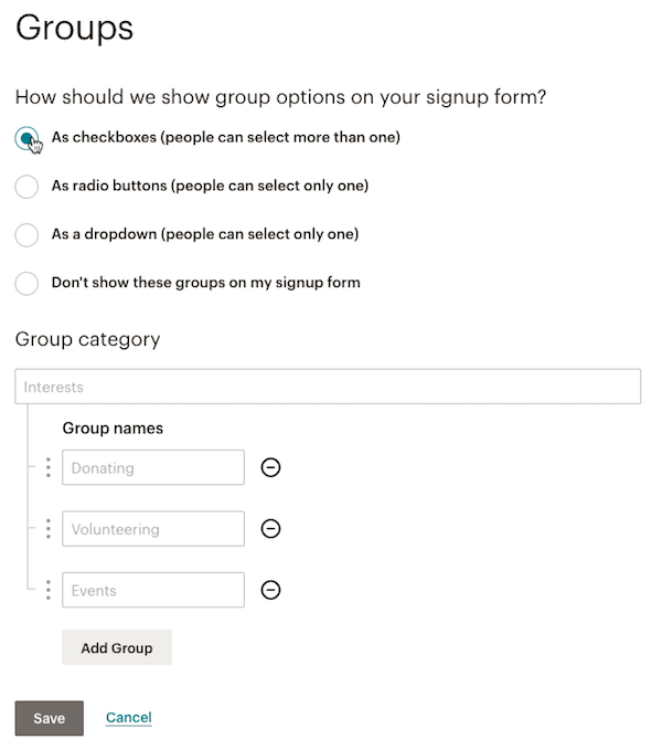 New group showing the options for Group category and Group name options.
