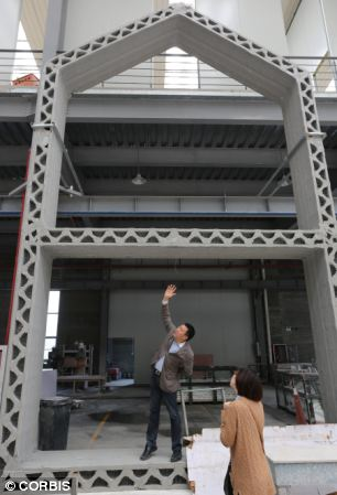 Building regulations prevent the creation of any 3D printed multi-storey structures. The houses (pictured) look as if they have a tall room, with a horizontal support for the house