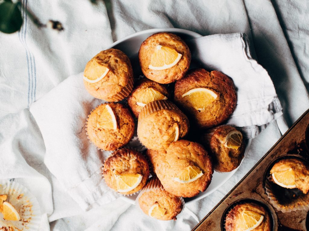 Muffins on table; how to start a bakery
