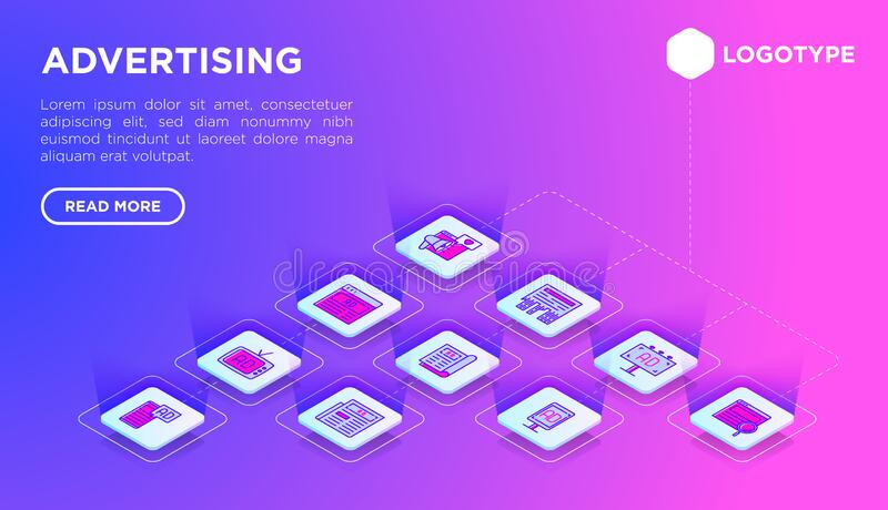Advertising web page template with thin line isometric icons: billboard, street ads, newspaper, magazine, product promotion, email stock illustration