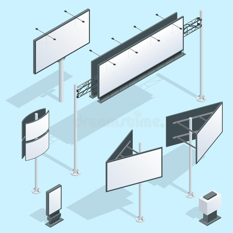 Billboard isometric. Set of different perspectives advertising construction for outdoor advertising big billboard on stock illustration