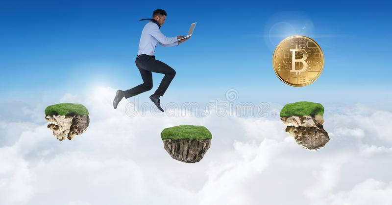 Businessman collecting bitcoins jumping on game platforms in sky holding laptop. Digital composite of Businessman collecting bitcoins jumping on game platforms royalty free stock photos