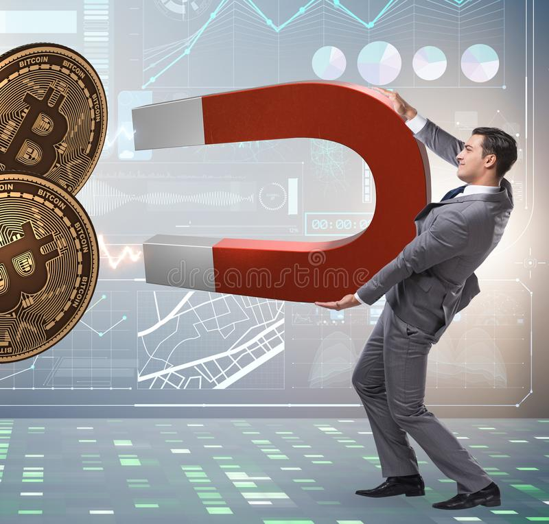 Businessman mining bitcoins with horseshoe magnet. The businessman mining bitcoins with horseshoe magnet stock images