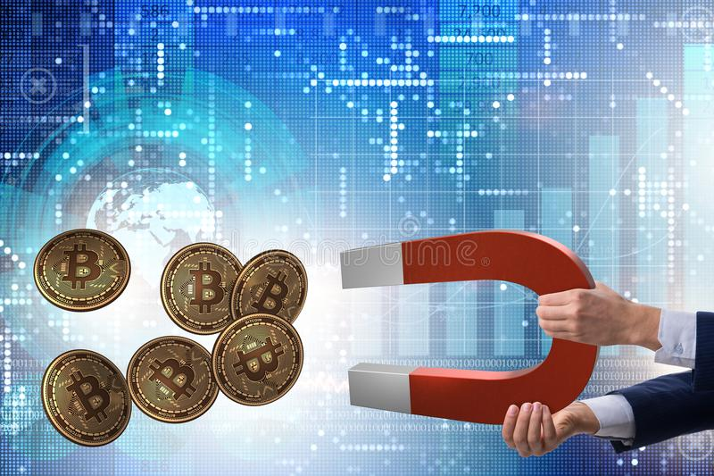 The businessman mining bitcoins with horseshoe magnet. Businessman mining bitcoins with horseshoe magnet stock photos