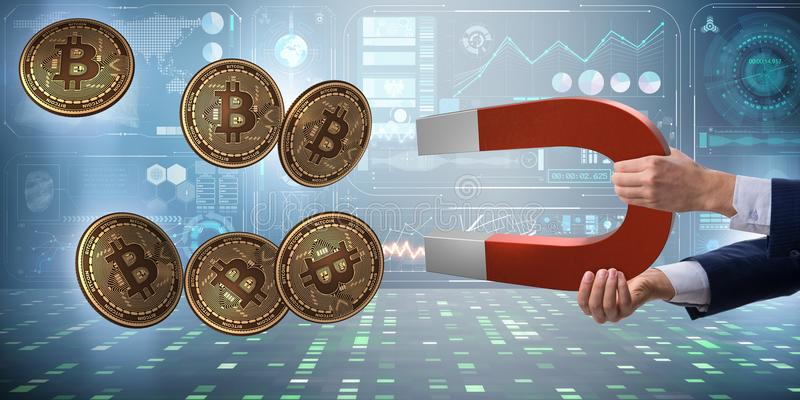 The businessman mining bitcoins with horseshoe magnet. Businessman mining bitcoins with horseshoe magnet royalty free stock photos