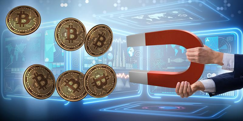 The businessman mining bitcoins with horseshoe magnet. Businessman mining bitcoins with horseshoe magnet stock image