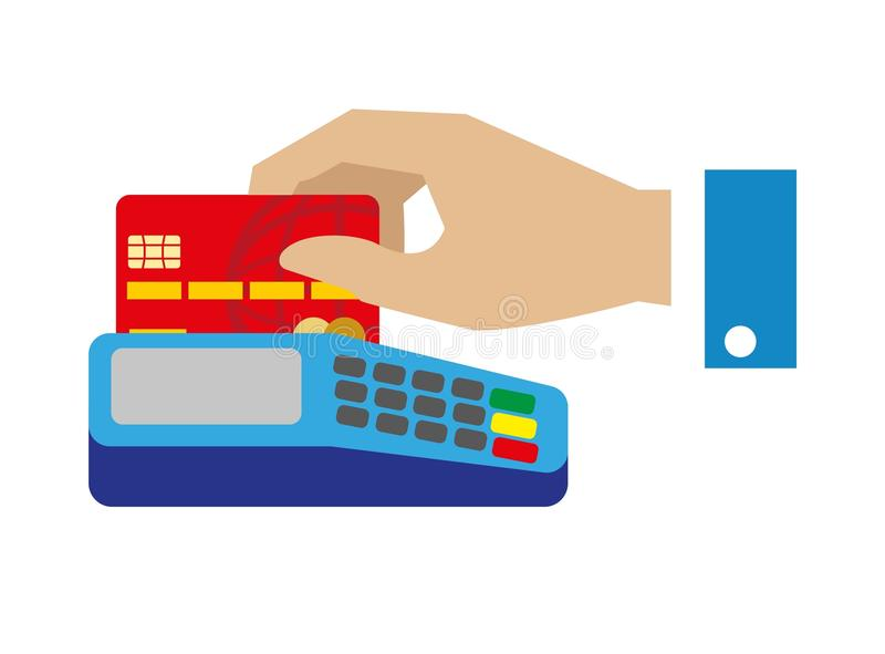 Cash free payment with bank credit card vector illustration stock illustration
