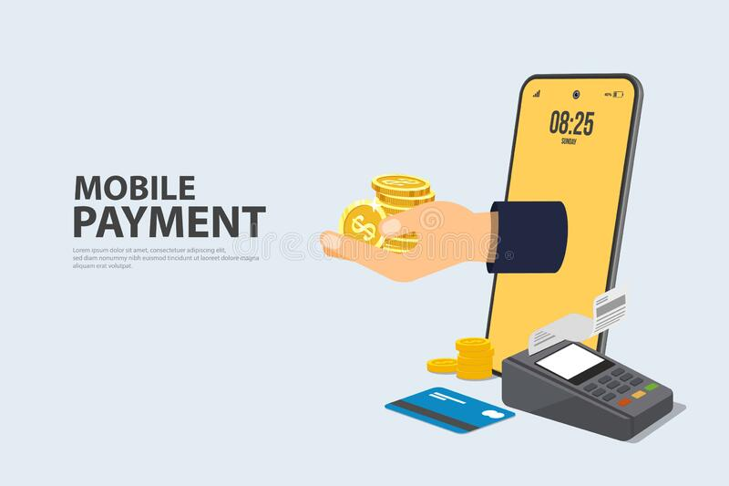 Concept Online and mobile payments Vector illustration pos terminal confirms the payment using a smartphone, Mobile payment, royalty free illustration