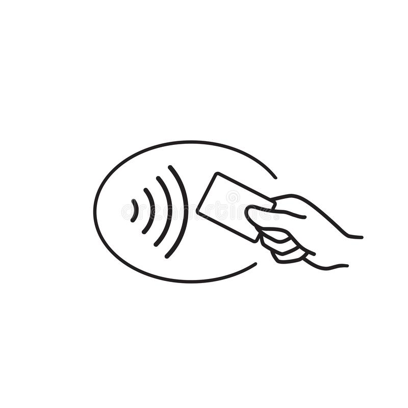 Contactless payment, credit card and hand tap pay wave logo. Vector wireless NFC and contactless pay pass royalty free illustration