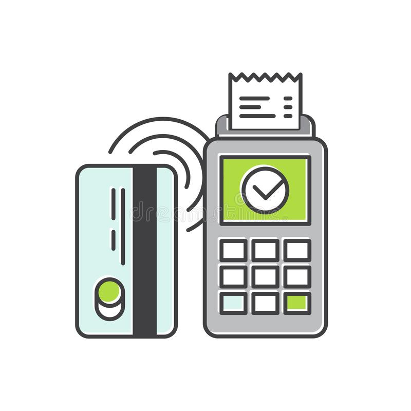Contactless payment purchase vector icon in a flat style. Wireless bank payment by debit or credit card and POS terminal stock illustration