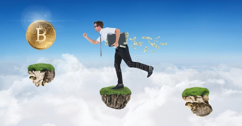 Businessman collecting bitcoins jumping on game platforms in sky. Digital composite of Businessman collecting bitcoins jumping on game platforms in sky stock photography