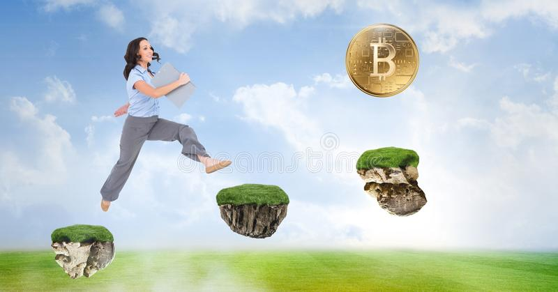 Businesswoman collecting bitcoins jumping on game platforms in sky. Digital composite of Businesswoman collecting bitcoins jumping on game platforms in sky royalty free stock photos