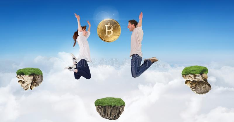 Couple collecting bitcoins jumping on game platforms in sky. Digital composite of Couple collecting bitcoins jumping on game platforms in sky stock image