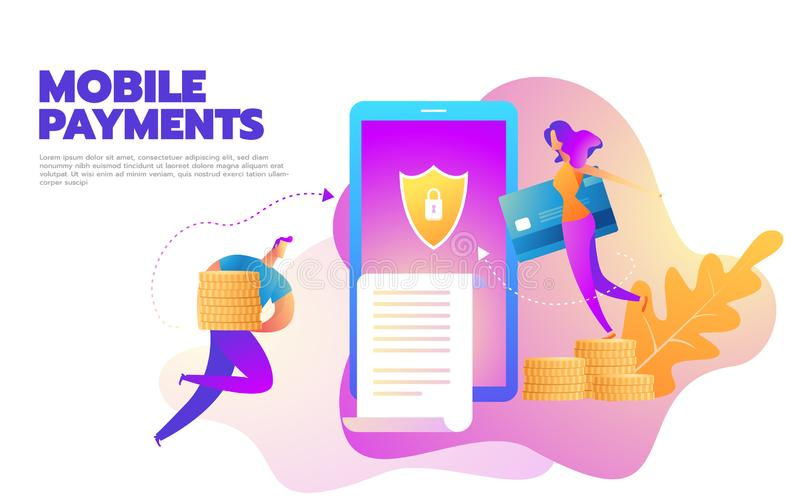 Flat design style vector illustration of modern smartphone with processing of mobile payments from credit card. Internet stock illustration