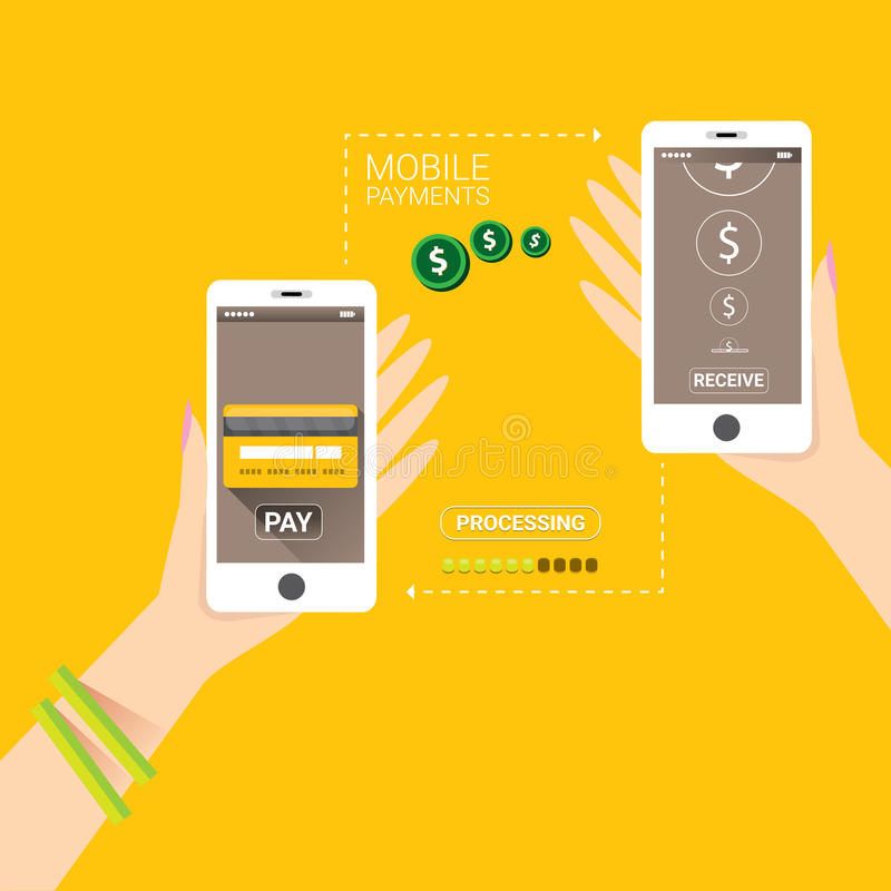 Flsmartphone processing of mobile payments vector illustration