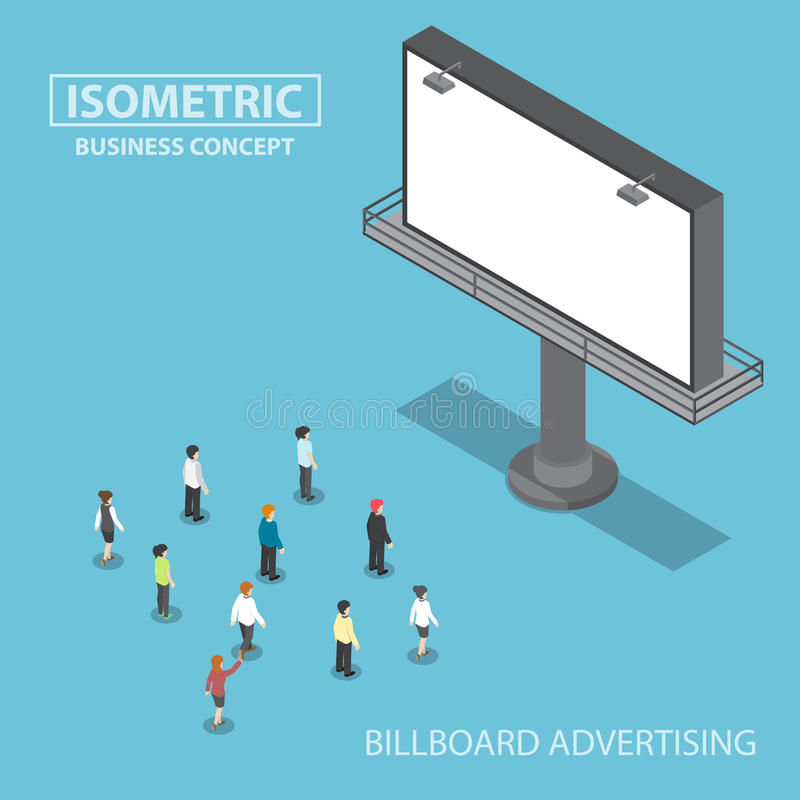 Isometric business people standing in front of large billboard royalty free illustration