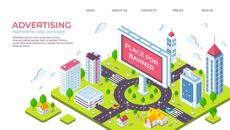 Isometric city billboard. Landing page with 3D city landscape and advertising banner. Vector outdoor ads concept royalty free illustration