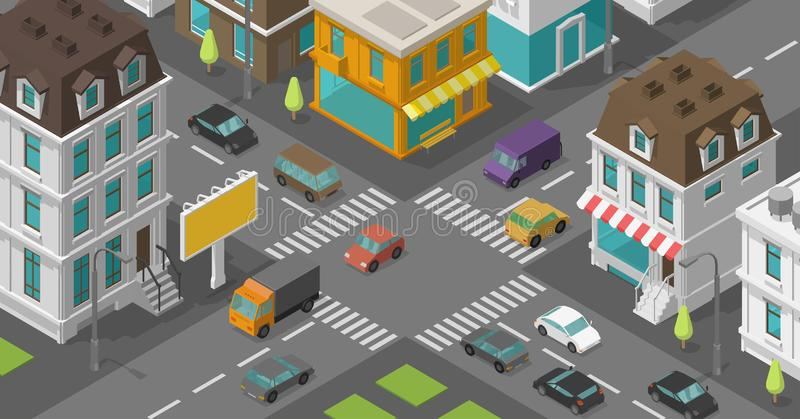 Isometric city. Town district street. Advertising billboard on the road Intersection. Vector high detail city rectangular royalty free illustration
