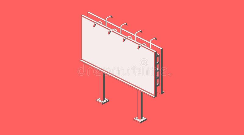 Isometric street billboard. Road signboard mockup. Vector flat illustration with one red color. Promotion advertising infographic vector illustration
