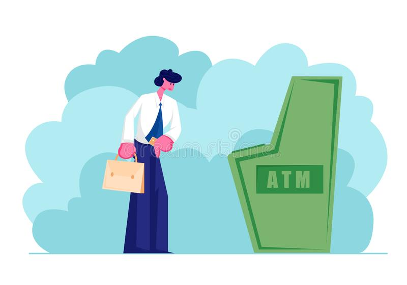 Man Stand at Automated Teller Machine Holding Credit Card in Hand, Character Want to Draw Money from Atm Businessman Visiting Bank stock illustration