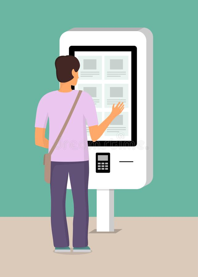 Man using self-service payment and information electronic terminal with touch screen. Vector illustration in flat style vector illustration