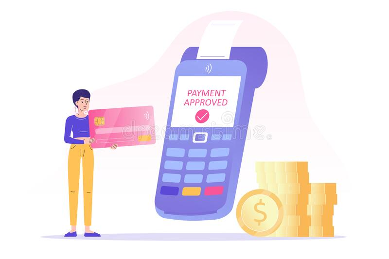 NFC contactless payment concept. Young woman using bank card to make payment. POS terminal approves the payment. Online royalty free illustration