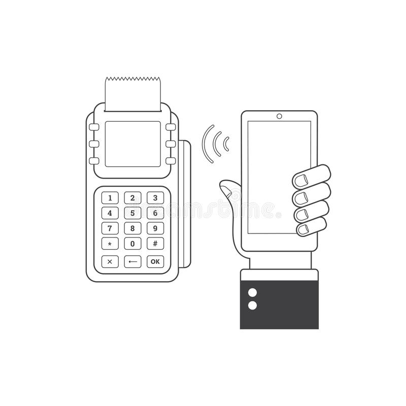 NFC technology concept. Smartphone and POS-terminal, processing of mobile payments stock illustration