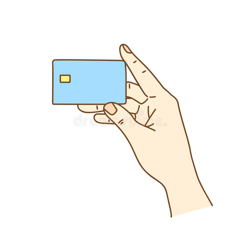 Hand holding credit card isolated on white, vector illustration. royalty free illustration