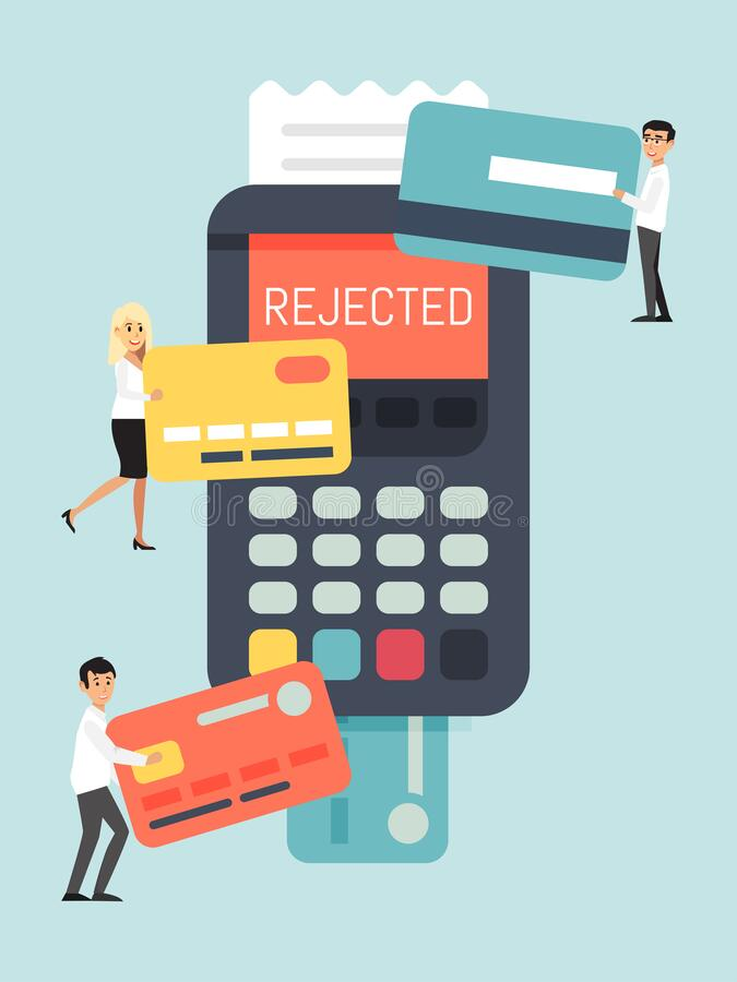 Rejected online card, remote payment system, tiny character person pay bank terminal isolated on blue, flat vector vector illustration