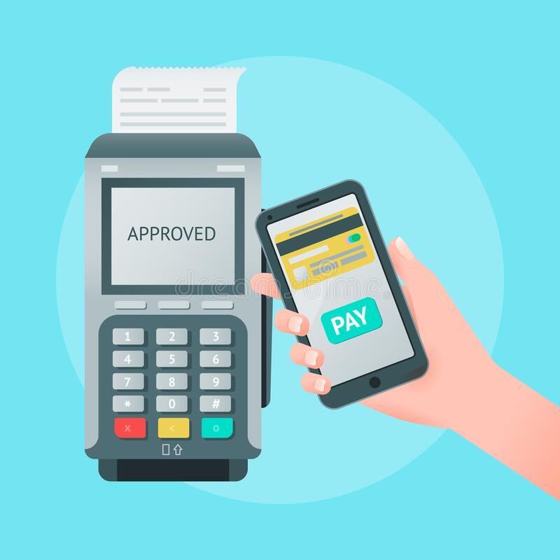 Mobile wireless payment concept. Vector illustration of pos terminal, mobile phone in hand stock illustration