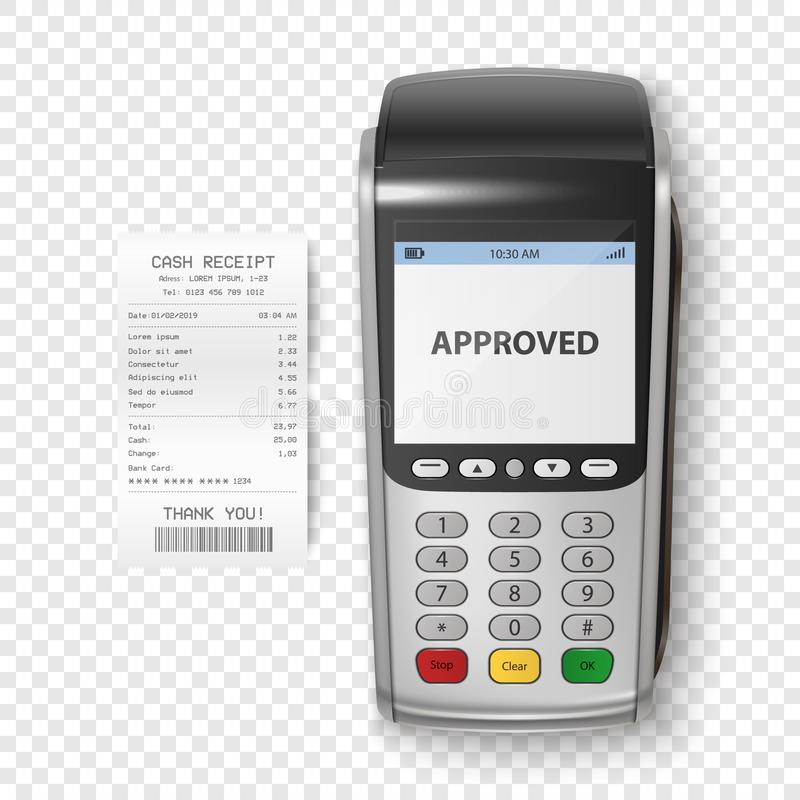 Vector Realistic Silver 3d Payment Machine. POS Terminal with Receipt Closeup Isolated. Design Template of Bank Payment royalty free illustration