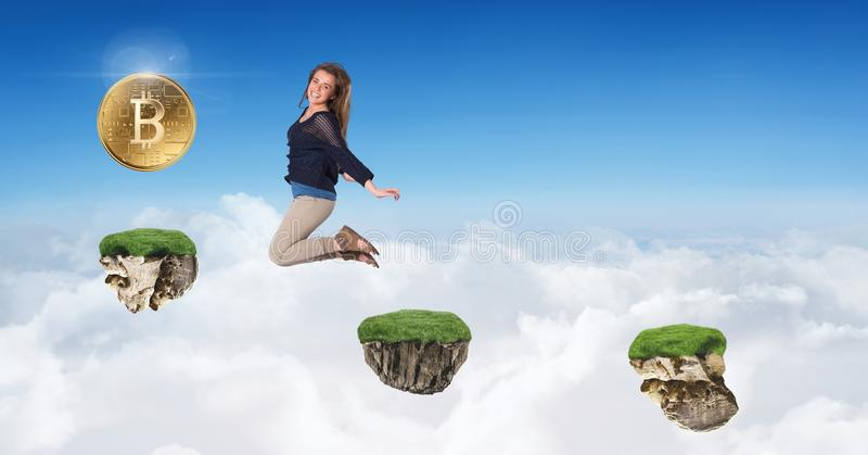 Woman collecting bitcoins jumping on game platforms in sky. Digital composite of Woman collecting bitcoins jumping on game platforms in sky stock images